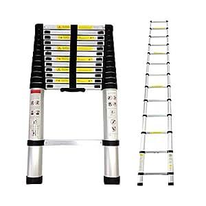 Todeco - Teleskopleiter, Klappleiter - Maximale Belastbarkeit: 150 kg - Standard/Zertifizierung: EN131 - 3,8 Meter, EN 131