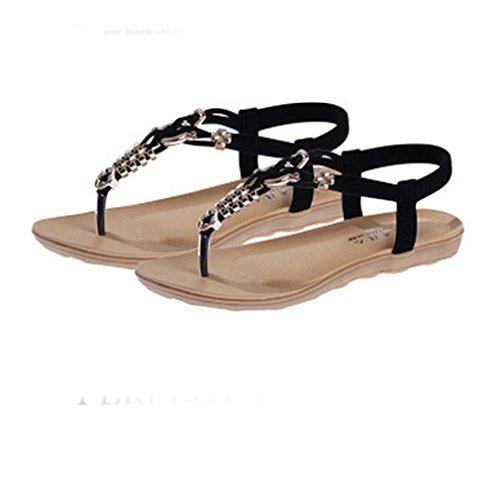Fulltime® Bohemian perles Sandales clip Toe Sandales Chaussures de plage de Chevrons des femmes