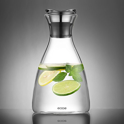 Ecooe Glaskrug 1,5 Liter Glaskaraffe Wasserkrug mit Bl¨¹tenblatt Edelstahldeckel Karaffe