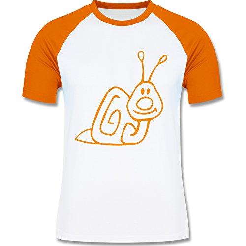 Shirtracer Sonstige Tiere - Schnecke - Herren Baseball Shirt Weiß/Orange