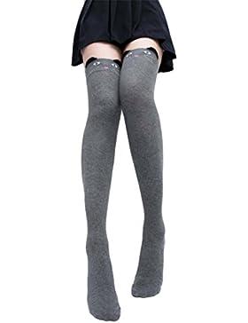 Ularma Calcetines lindo gato Catoon largo de mujer sobre calcetín alto de rodilla