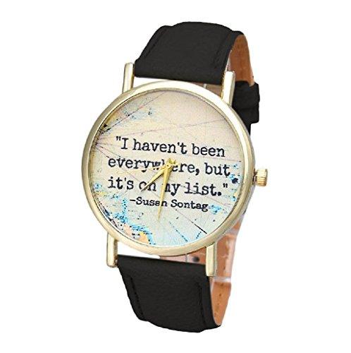 Sannysis® unisexo cuero banda analógico cuarzo marcar reloj de pulsera