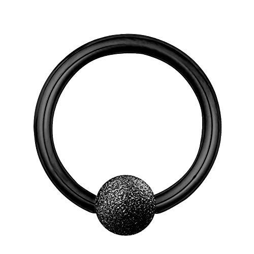 Treuheld Piercing Klemmring - Stahl - Diamant - Schwarz - [02.] - 1.2 x 8 mm (Kugel: 3mm) -