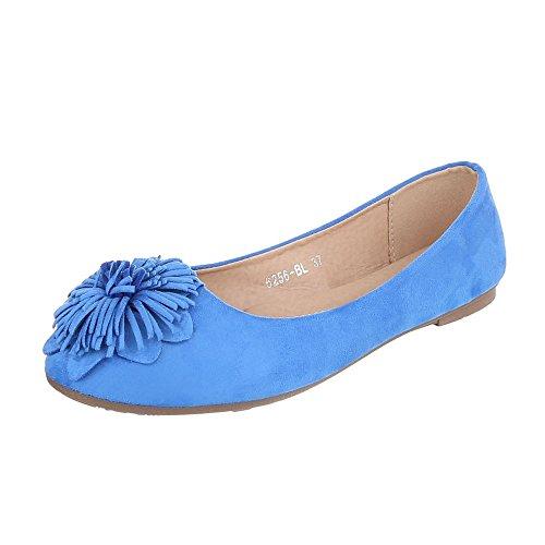 Ballerinas Damenschuhe Geschlossen Blockabsatz Moderne Ital-Design  Ballerinas Blau