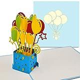 PaperCrush® Pop-Up 3D Geburtstagskarte (blau) - Perfekt als Geldgeschenk, Geldgeschenkkarte, Pop Up Karte zum Geburtstag - Handgemachte 3D Karte inkl. Umschlag