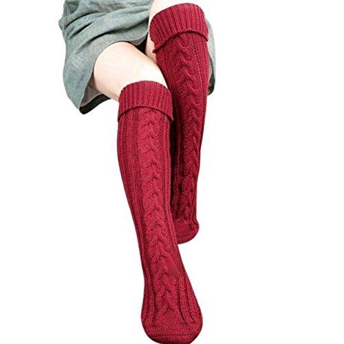 Yogogo Frauen Schritt Fuß Knit Wollgarn über Knie-Strumpf-hohe Socken (Rot)