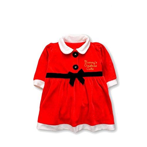 Neugeborenen Fancy Kostüm Dress - MissChild Weihnachten Kleid Baby Kinder Mädchen Prinzessin Fancy Kostüm Langarm Weihnachtskleid für Neugeborene S