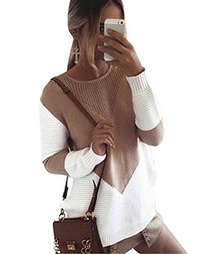 Minetom Damen Elegant Strickpullover Baumwolle Langarm Rundhals Pullover Pulli Loose Herbst und Winter Khaki DE 44