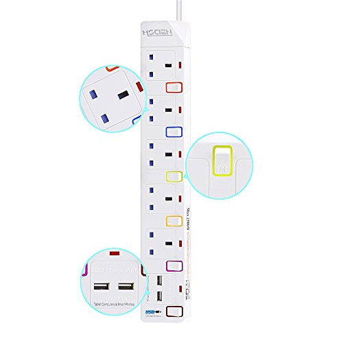 Extension-Lead-with-USB-Mscien-5-Way-Outlets-2-USB-Ports5V21A-Individually-Switched-Overload-Protection-18M2500W-Extension-Cord-Socket