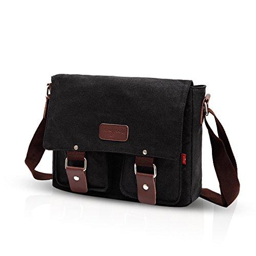 Fandare New Retro Messenger Bag Tracolla Tracolla Zaini Laptop 14 Pollici Mens Borsa Messenger Bag Multifunzione Tela Grigio Grigio Nero