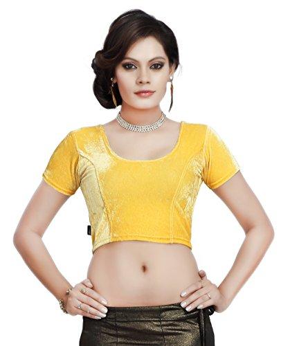 Carrel Velvet Fabric Women Round Neck Blouse (2057-BL-GOLD-L)