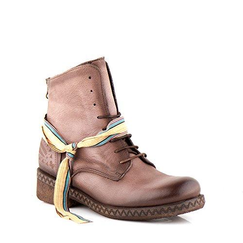 Felmini - Chaussures Femme - Tomber en amour avec Beta A231 - Bottes Lacées - Cuir Véritable - Marron Marron