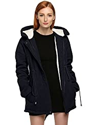Meaneor Abrigo chaqueta parka de mujer anoraks con capucha Cordón ajustable para invierno