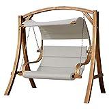 ASS Design Hollywoodschaukel Antigua-BEIGE aus Holz Lärche mit Stoffsitz von