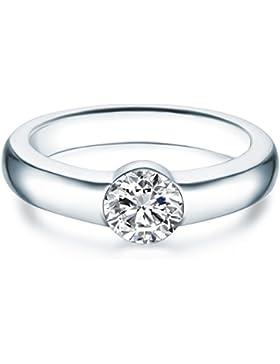 Tresor 1934 Damen-Solitärring Sterling Silber Kristalle von Swarovski® weiß - Verlobungsring Spannring Antragsring...