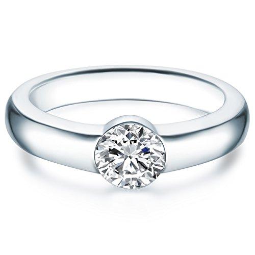 Tresor 1934 Damen-Solitärring Sterling Silber verziert mit Kristallen von Swarovski® weiß - Verlobungsring Spannring Antragsring Silberring Damen mit Stein