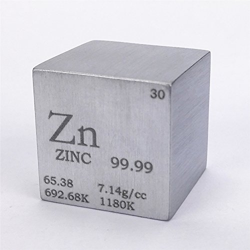 2,5cm 25,4mm Pure Zink Metall Cube 117G 99,99% Gravur Periodensystem (Zink-metall-lab)