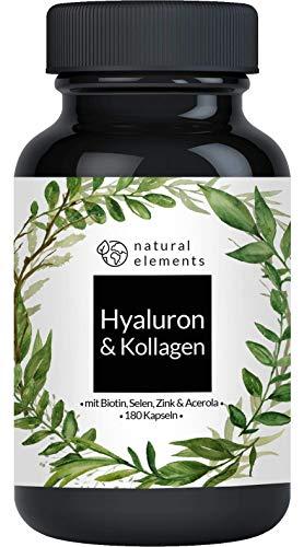 Hyaluronsäure Kollagen Komplex - Einführungspreis - 180 Kapseln - Angereichert mit Biotin, Selen, Zink, Vitamin C aus Acerola & Bambusextrakt - Hergestellt in Deutschland -