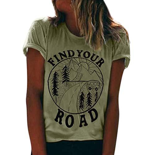 Finden Sie Ihre Straße 'Briefmuster Damen Sommer Mode Kurzarm Oansatz Tops Cuffed Sleeve Solide Lose Bluse T-Shirt für Damen Größe S-XXXL -