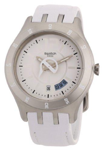 Swatch YTS401 – Reloj de caballero de cuarzo, correa de piel color blanco