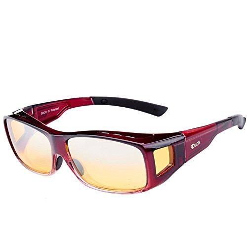 DUCO Polarisierte Nachtfahrtbrille Überbrille für Korrektionsbrille für Brillenträger Polarisierte Nachtsichtbrille 8953Y (L - Rot)