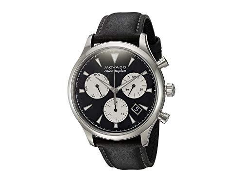 Movado Suisse à quartz pour homme en acier inoxydable et cuir décontractée montre, couleur: noir (modèle: 3650005)