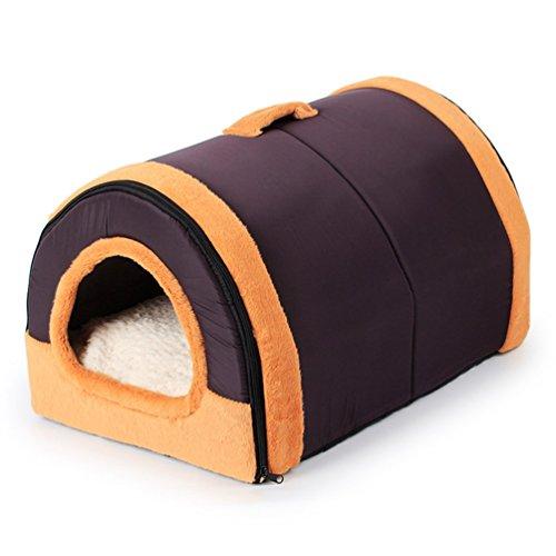 Komia Kuschelhöhle Softplüsch-Bezug Hundehöhle Braun Hundehaus für hunde indoor kuschelhaus