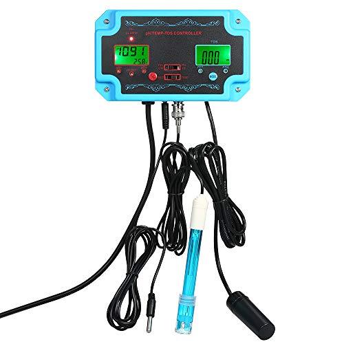 KKmoon Professional 3 en 1 pH/TDS/TEMP Detector de la calidad del agua Controlador de pH con enchufe de relé Electrodo recargable Sonda de tipo BNC Probador de la calidad del agua