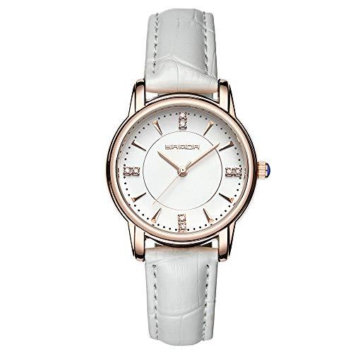 Damen Uhren, L'ananas Frauen Mode Adrette Art Bambuskörner Leder Band Armbanduhr Armbänder Women Watches Wristwatch Bracelets (Weiß)