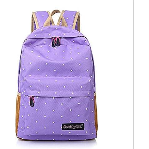 Alta qualità tela borsa zaino scuola per adolescente ragazza portatile stampa Zaini donna Casual zaino Mochila , violet