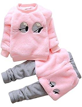 Yuncai Baby Kleidung Satz Winter Weich Gemütlich Mantel und Hose für Babymädchen Dickere