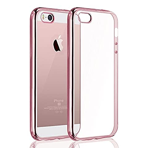 iPhone SE Case,Splaks® [Rose Gold] Extra Shock-Absorb Clear back panel+ Rose Gold Metal Plating Frame ,Extreme Lightweight Soft Flexible Silicone Rubber Anti-Scratch Protective Case For iPhone SE/5 SE/5/5S-Rose Gold