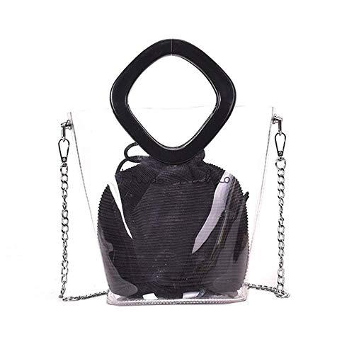 XYFL Klare Tasche Geldbörse Mit Innenkupplung Transparente Tragetaschen Für Frauen wasserdichte Handtaschen Kette Schulter Messenger Bags,Black