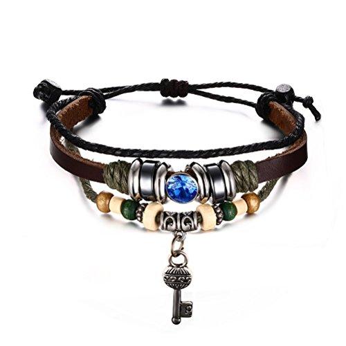 Chiave Legno e ematite perline corda intrecciata in vera pelle braccialetto con blu Zirconia Cubica, lunghezza regolabile