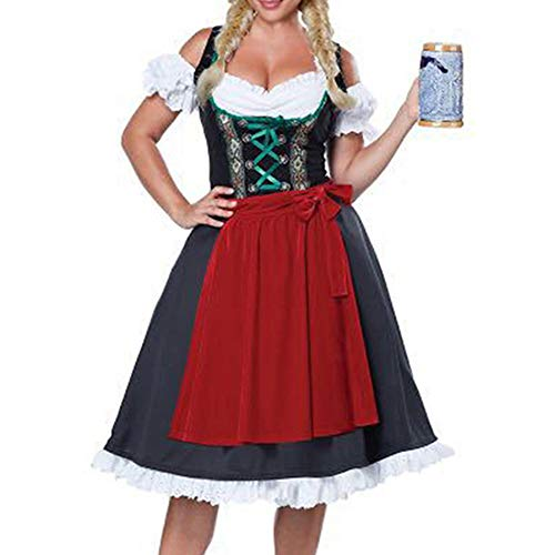 Für Disney Up Dress Kostüm Erwachsene - Halloween Karneval Oktoberfest Bier Dirndl Frauen Bayerisches Rotes Kleid Schürze Cosplay Kostüm Spiel Dress up Kleidung,Blue-XL