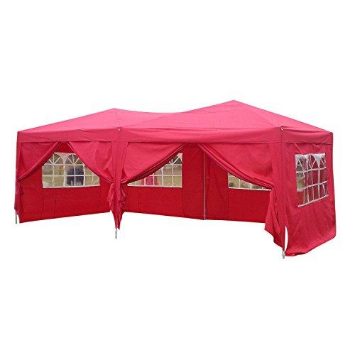 mymotto Partyzelt Pavillon Zelt Faltbar 3 x 6 x 3,3 m Wasserdicht Stabil Gartenpavillon Klappzelt Outdoor Sonnenschutz