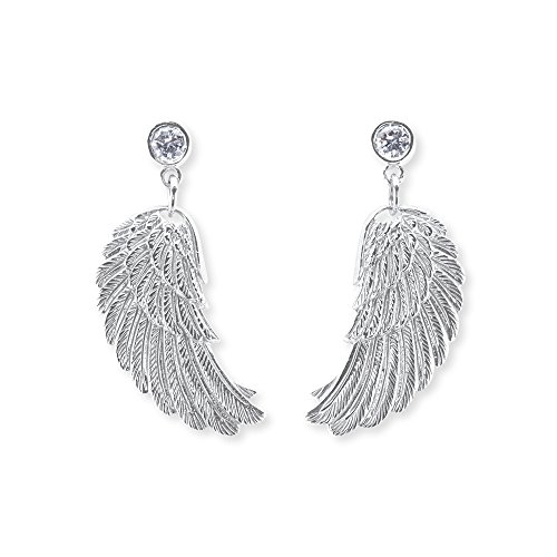 Engelsrufer Flügel Ohrstecker für Damen 925er-Sterlingsilber Weiße Zirkonia Größe 20 mm