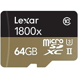 Lexar Professional 1800x Scheda MicroSDXC, 64 GB, UHS-II con Adattatore USB 3.0 e SD