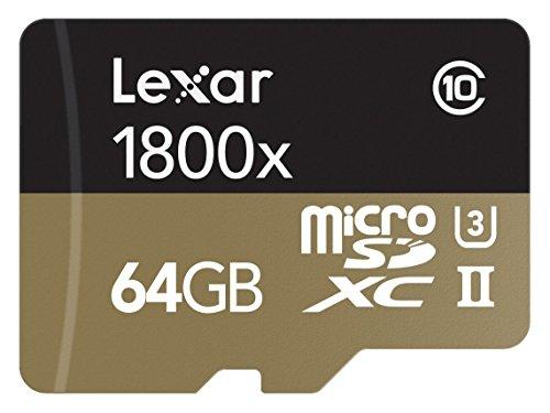 Lexar Professional - Tarjeta de Memoria 1800x microSDXC UHS-II de 64 GB (USB 3.0 con Adaptador, Incluye Lector de Tarjeta)