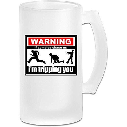 Wenn Zombies uns jagen, stolpere ich Sie personifizierter kundenspezifischer Pub-Becher mit Griffen Getränkesaft-Glas 16,9 Unze-Mattglas-Bierkrug-Schale