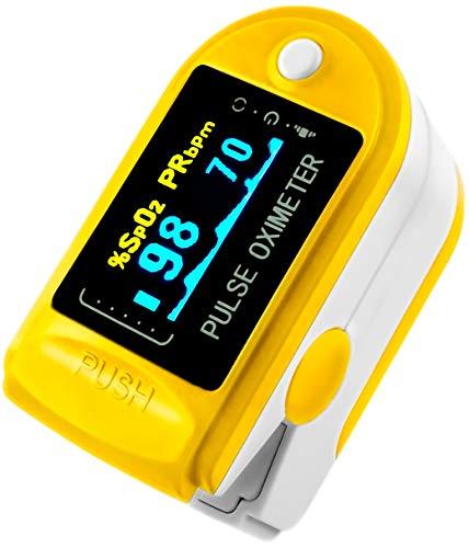 AVAX AV-50D - Fingerpulsoximeter (Finger Pulse Oximeter) -%SpO2 (Sauerstoffsättigung des Blutes) & Herzfrequenzmesser mit LED-Anzeige und Zubehör - GELB