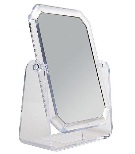 Acryl Standspiegel 19x 15 cm, Kosmetex mit 2-fach Vergrößerung, Spiegel, Kosmetik-Spiegel mit 2...