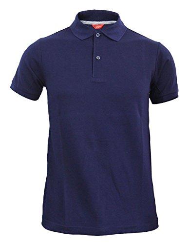 Bcpolo Männer Poloshirt Baumwollpikee beiläufige Kurzarm-Polo-Hemd-navy XXL (Blau Langarm-uniformhemd)