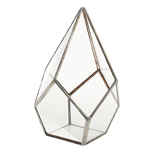 Luft Pflanzer Mini Glasterrarium Geometrisches Glas Sukkulente Pflanzgefäß Haus Dekoration 16x16x25cm - Silber -
