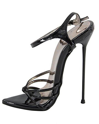 WONDERHEEL Damen Fetisch Pointed Toe Sandalen Schwarz 38.5 EU