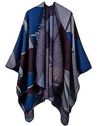 Mochoose Poncho et Cape Tricot Châle Plaid Écharpe Couverture Wrap Tartan  Chaude Hiver pour Femme 0483697833b