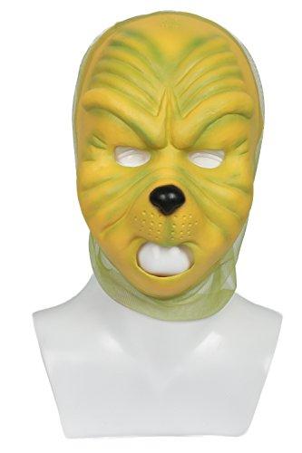 Grinch Kostüme Halloween (Film Gesicht Maske Deluxe Grüner Latex Auge Masken Cosplay Kostüm Props Erwachsene)
