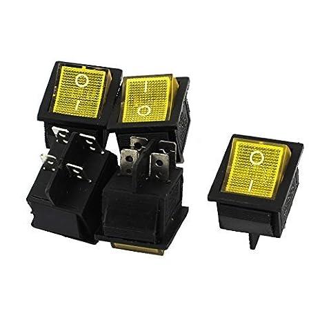 AC 250V/125V 15A/20A DPST 4Pin Solder Yellow Lamp Rocker Switches 5Pcs, Model: