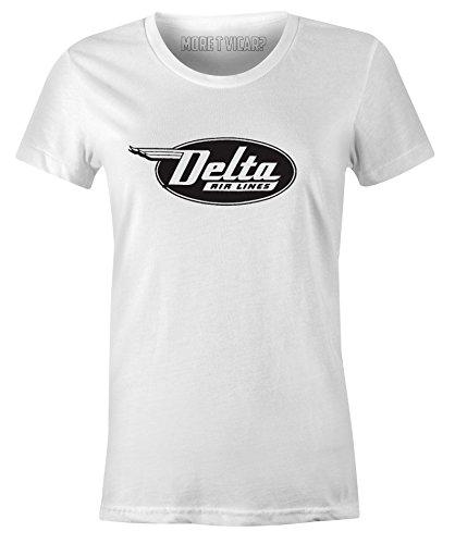 More T Vicar Delta Airlines - Damen Retro Flugzeug Logo T-Shirt - Fluggesellschaften, Weißes T-shirt