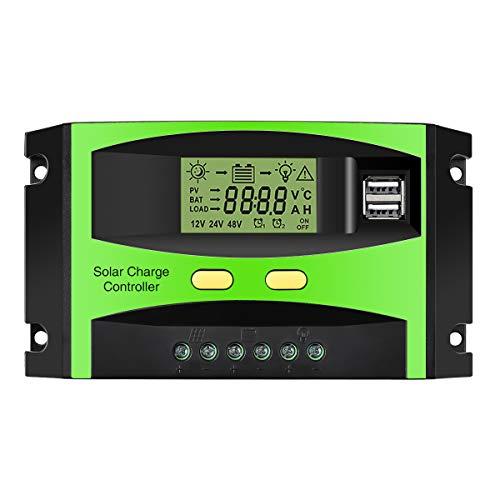 Controlador de cargador de batería solar MO MOHOO 30A, buena opción para la energía verde (panel solar) Función del controlador de carga: 1. Gran pantalla LCD 2. Apoyo control de la luz y control de tiempo 3. Salida dual USB 5V 3A (5V / 1.5A cada uno...